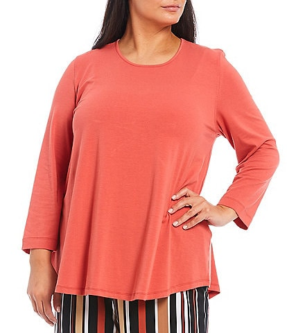 Multiples Plus Size Solid Knit Scoop Neck Long Sleeve Hi-Low Swing Top