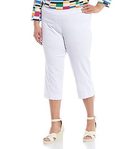 Multiples Plus Size Stretch Twill Pull-On Capri Pants