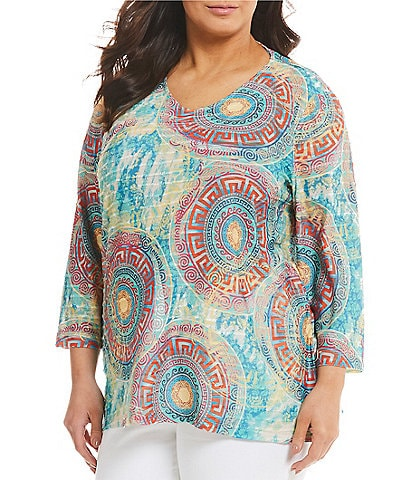 Multiples Plus Size V-Neck Greek Medallion Textured Knit Top