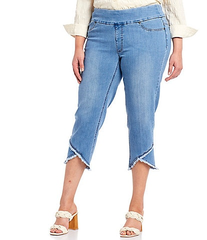 Multiples Plus Size Wide Waistband Pull-On Fringed Lapped Hem Crop Pants