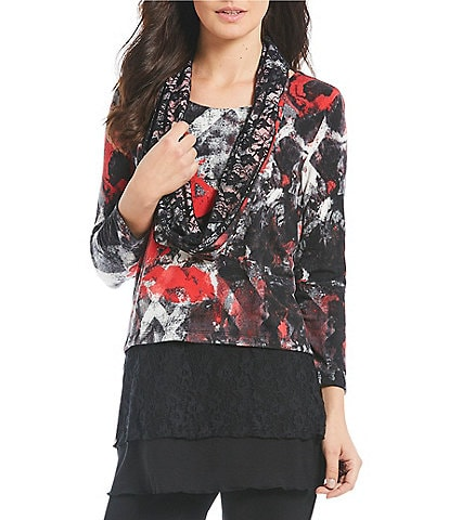 Multiples Printed 3/4 Sleeve Solid Lace Layered Scarf Top