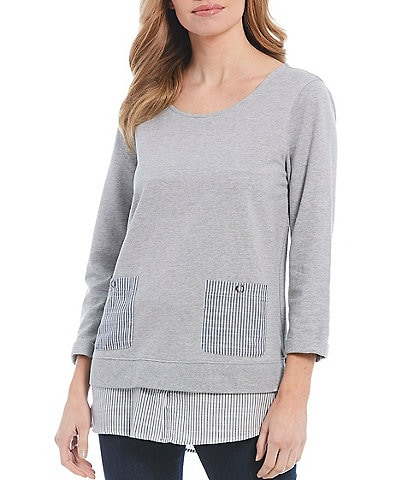 Multiples Solid 3/4 Sleeve Mixed Media Stripe Layered Cotton Top
