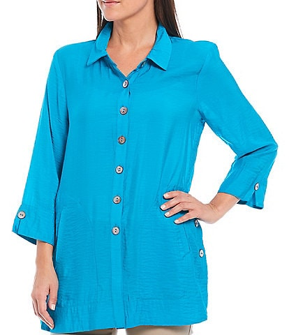 Multiples Solid Crinkle Woven Button Front 3/4 Notch Sleeve Side Button Detail Shirt