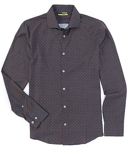 Murano Big and Tall Printed Performance Stretch Brown Long-Sleeve Woven Shirt