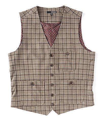 Murano Check Plaid Suit Separates Vest