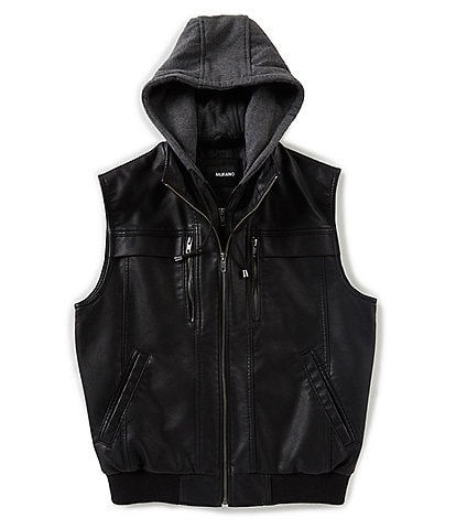 Murano Faux Leather Vest with Removable Hood