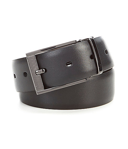 Murano Laser Head Silver Reversible Leather Belt