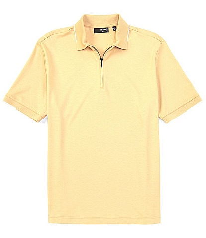 Murano Liquid Luxury Classic-Fit Tipped Solid Short-Sleeve Quarter-Zip Polo Shirt