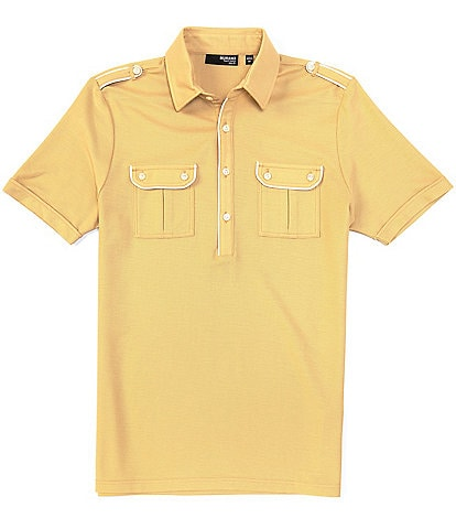 Murano Liquid Luxury Slim-Fit Piped Short-Sleeve Polo Shirt