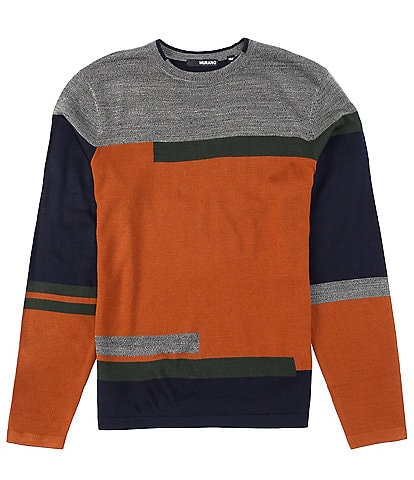 Murano Munich Collection Color Blocked Long-Sleeve Crewneck Sweater
