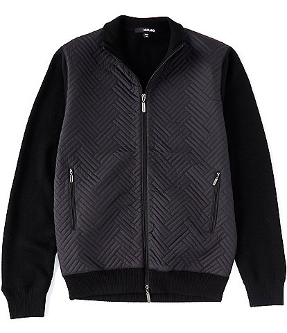 Murano Nylon Quilted Full-Zip Wool Blend Jacket