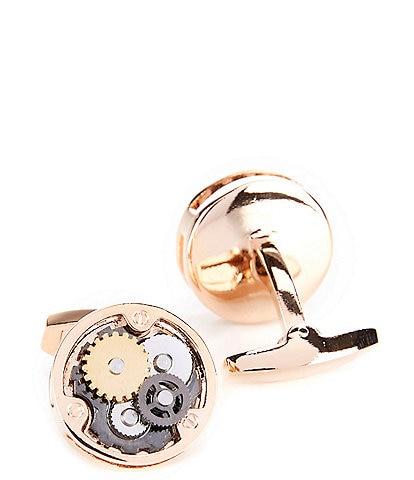 Murano Round Gears Rose Gold Cuff Links