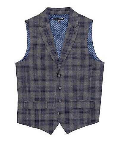 Murano Shawl Collar Plaid Suit Separates Vest