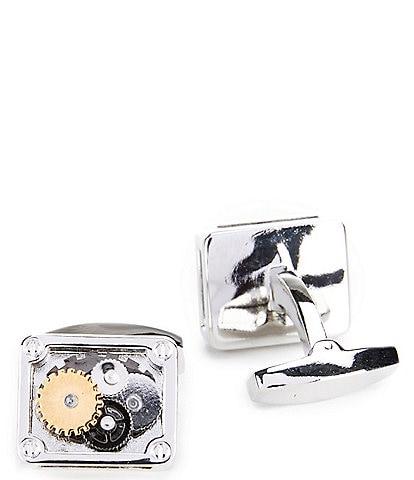 Murano Silver Square Gear Cuff Links