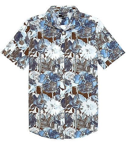 Murano Slim-Fit Large Floral Print Short-Sleeve Woven Shirt