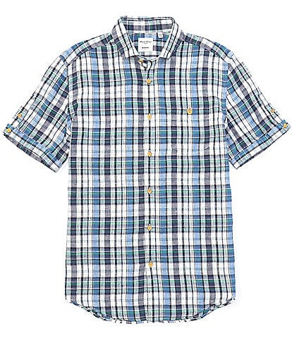 Murano Madras Plaid Baird McNutt Linen Short-Sleeve Woven Shirt