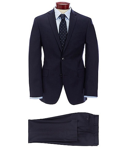 Murano Slim Fit Navy Striped Wool Suit