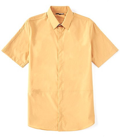 Murano Interstellar Collection Slim-Fit Pieced Solid Short-Sleeve Woven Shirt