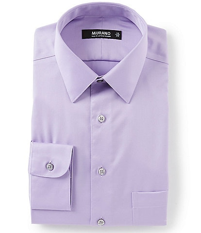3ccc4e46a Murano Slim-Fit Point-Collar Solid Sateen Dress Shirt