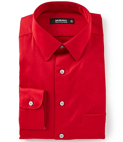 Murano Slim-Fit Point-Collar Solid Sateen Dress Shirt