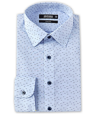 Murano Slim Fit Spread Collar Dash Pic Stretch Dress Shirt