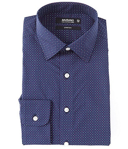 Murano Slim Fit Spread Collar Dotted Dress Shirt