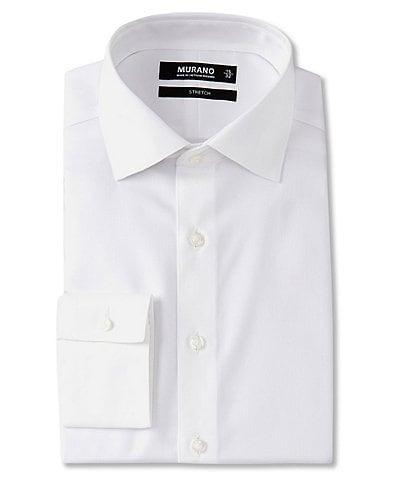 Murano Slim Fit Stretch Spread Collar Herringbone Dress Shirt