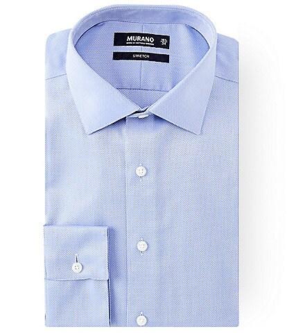Murano Slim Fit Spread Collar Herringbone Dress Shirt