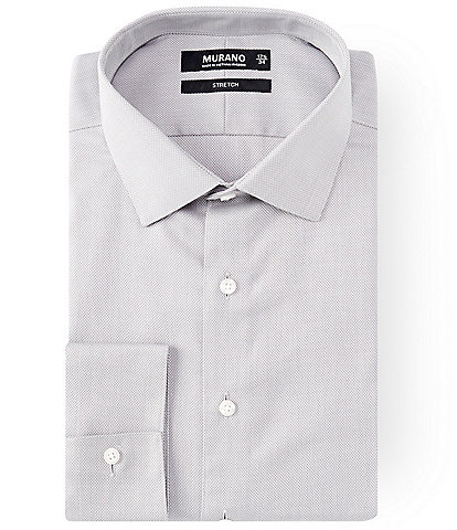 Murano Slim Fit Spread Collar Herringbone Dress Shirt