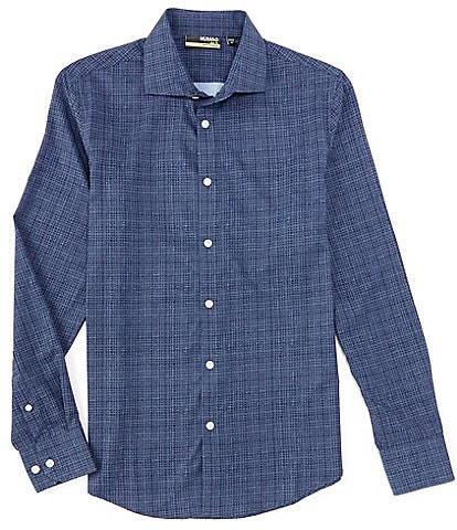 Murano Slim-Fit Stitched Lines Print Performance Stretch Long-Sleeve Woven Shirt