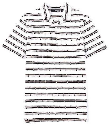 Murano Liquid Luxury Slim-Fit Stripe Jacquard Short-Sleeve Woven Camp Shirt