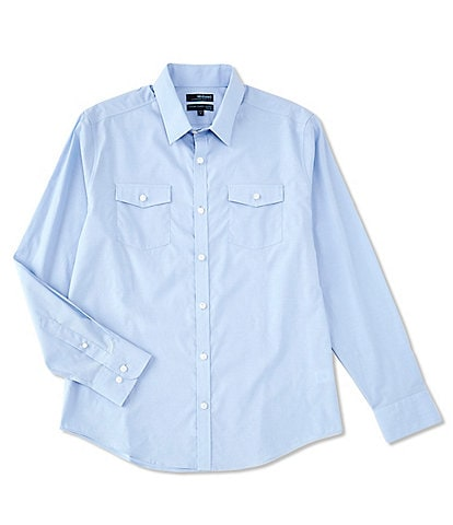 Murano Wardrobe Essentials Slim-Fit Solid Dual-Pocket Long-Sleeve Woven Shirt
