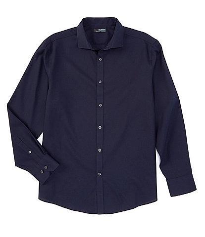 Murano Wardrobe Essentials Ultimate Modern Comfort Stretch Long-Sleeve Spread-Collar Textured Sports