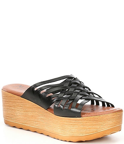Musse & Cloud Maily Woven Leather Platform Slides