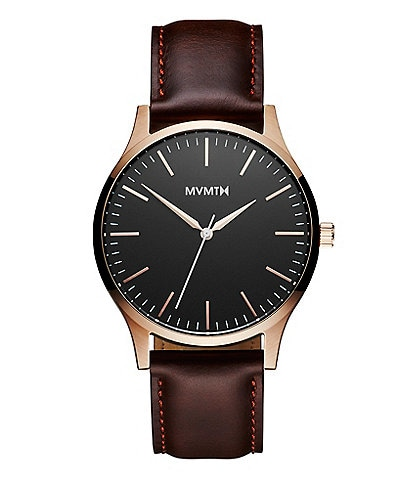 MVMT 40 Series Men's Brown Leather Strap Analog Watch