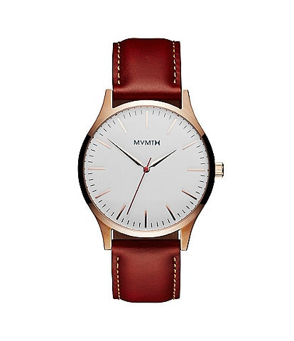 MVMT 40 Series Men's Quartz Analog Tan Leather Strap Watch