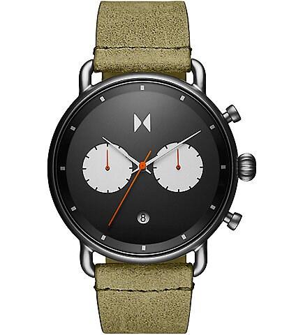 MVMT Blacktop Moss Green Leather Strap Chronograph Watch