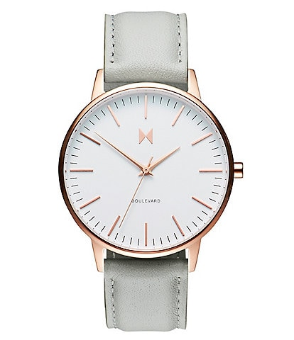 MVMT Boulevard Collection Beverly Leather Strap Rose Gold Quartz Analog Watch