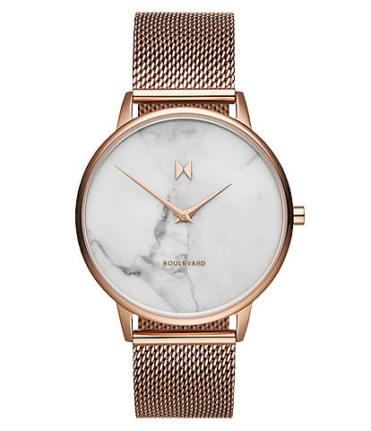 MVMT Boulevard Collection Malibu Marble Mesh Bracelet Watch