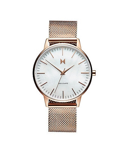 MVMT Boulevard Collection Rose Gold Pearl Mesh Bracelet Quartz Analog Watch