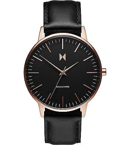 MVMT Boulevard Collection Santa Monica Quartz Analog Black Leather Strap Watch