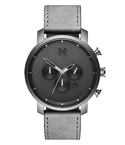 MVMT Chrono Monochrome Grey Leather Watch