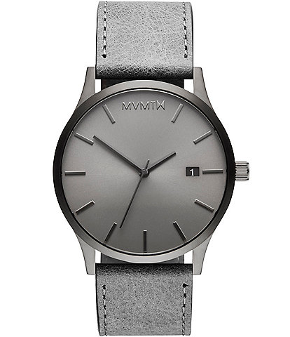 MVMT Classic Monochrome Gray Leather Strap Watch