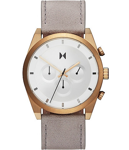 MVMT Element Chrono Bronze Ore Grey Leather Watch