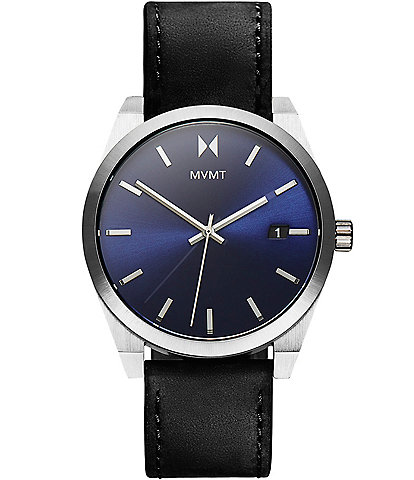MVMT Element Nitro Blue Black Leather Watch