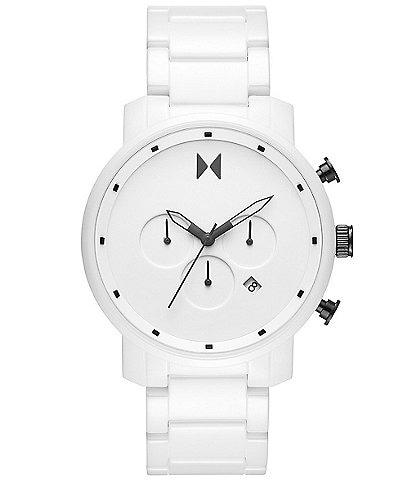 MVMT Men's Chronograph White Ceramic Bracelet Watch