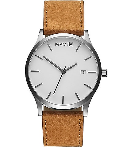 MVMT Men's Classic Collection Tan Quartz Analog Leather Strap Watch