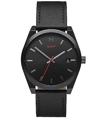 MVMT Men's Element Black Leather Strap Watch