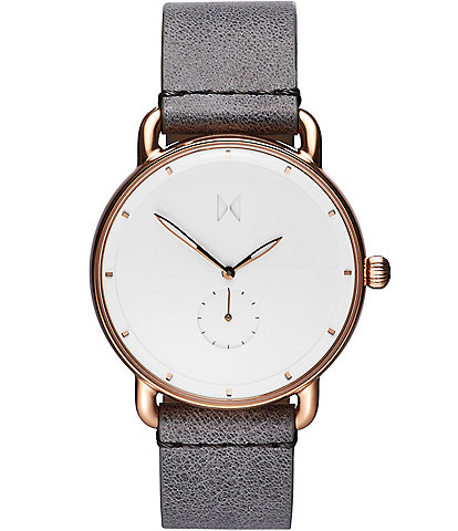 MVMT Men's Revolver Collection Ghost Leather Strap Analog Watch