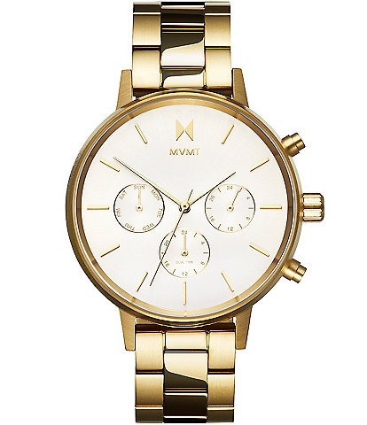 MVMT Nova Collection Solis Goldtone Multifunction Bracelet Watch
